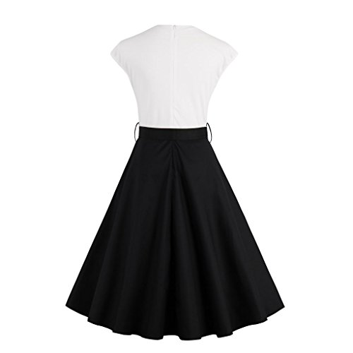 E-Girl M1375 Damen 50er Retro Cocktail Rockabilly Kleid Schwarz