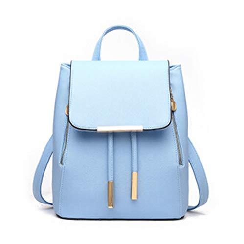 SUNQQC Frauen Rucksack Hochwertige Pu-Leder Mochila Escolar Schultaschen Für Jugendliche Mädchen Freizeit Rucksäcke Candy Farbe,Sky Blue Blue Ribbon Candy