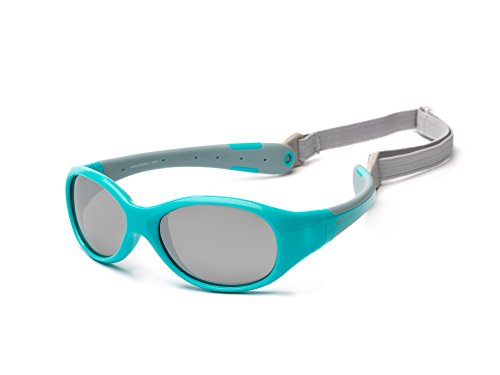 Preisvergleich Produktbild Koolsun Sonnenbrille Kinder Jungen Mädchen | Verspiegelt Flex 3-6 Jahre | Aqua Grey | 100% UV Schutz | Mit abnehmbarem Kopfband | Optical Clas 1, Cat. 3 | flexibel & unkaputtbar