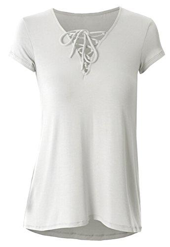 SMITHROAD Damen T-Shirt Sommer Kurzarm V-Ausschnitt mit Bindebändern Stretch Unifarben 13 Farben Gr.30-46 Weiß