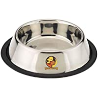 Foodie Puppies Pet Bowl for Large Dogs and Cats. Wipe Clean, Stainless Steel with Non-Skid Bottom (Large, 1800ml)