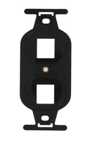 Leviton QuickPort Duplex 106 Decora Wallplate Insert, 2-Port, Black Duplex-106 Wall Plate Insert