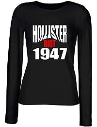 T-Shirt para Las Mujeres Manga Larga Negra OLDENG00523 Hollister Riot 1947