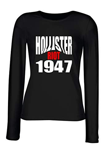 T-Shirt para Las Mujeres Manga Larga Negra OLDENG00523 Hollister Riot