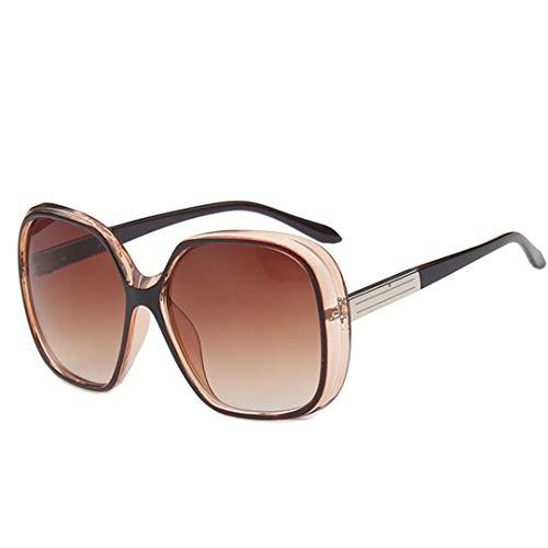 DAIYSNAFDN Rote große Rahmen-Sonnenbrille-Frauen-Verlaufslinse-Reise-Sonnenbrille Uv400 Gafas Tea