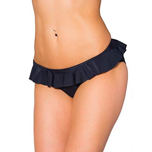 Aquarti Damen Bikini Hose mit Rüschen, Farbe: Schwarz, Größe: 42