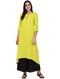 Pistaa Lime Green Solid High Low Hem Kurta With Plus Size