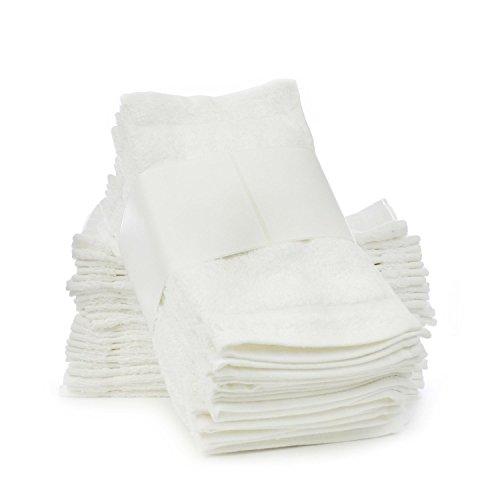 Classic zwei Dutzend Value Pack Frottee Waschlappen/Face Handtücher-100% Baumwolle Frottee Wirtschaft Waschlappen/wiederverwendbar Tücher-Weiß-12, baumwolle, weiß, Set of 24