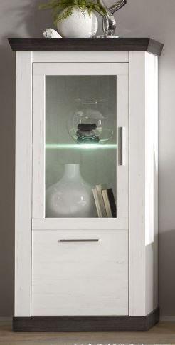 Wohnwand mit Elektrokamin – Pinie weiß - 4