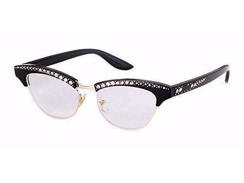 WSKPE Sonnenbrille Strass Sexy Katze Augen Sonnenbrille Frauen Schattierungen Brillen Uv400 Schwarzen Rahmen Klare Linse