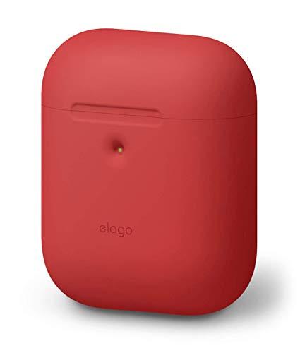 elago A2 Silikonhülle kompatibel mit Apple AirPods 2 Wireless Hülle (LED an der Frontseite sichtbar) - [Unterstützt kabelloses Laden] [Extra Protection] (ohne Karabiner, Rot)