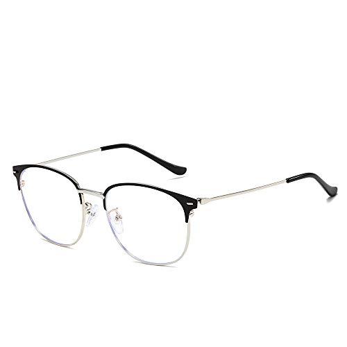 Easy Go Shopping Männer Und Frauen Mode Plain Brille Metall Runden Rahmen Anti Blue Light Classic Computer Brille Für Sonnenbrillen und Flacher Spiegel (Color : Silber, Size : Kostenlos)