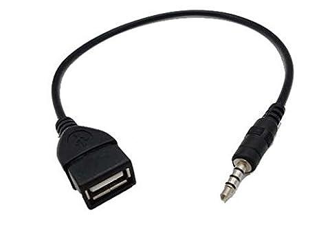 Coomoors USB femelle vers prise auxiliaire Jack Mâle 3,5 mm adaptateur convertisseur audio câble de données (Noir)