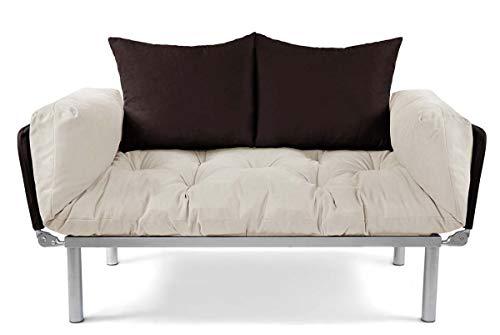 EasySitz Schlafsofa für EIN Sofa 2 Sitzer Kleines Couch 2-Sitzer Schlafsessel Zweisitzer Personen Mein Futon Sitzen Einer Farbauswahl (Creme & Braun)