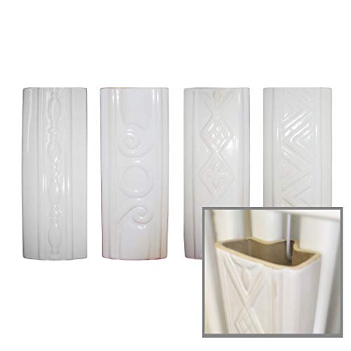 Luftbefeuchter 4-teiliges Set aus Keramik RELIEF für Rippenheizkörper zur Befestigung am Heizkörper Heizung Wasserverdunster Diffuser a1666