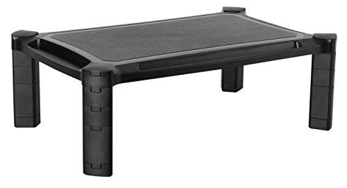 RICOO Monitorständer Höhenverstellbar WM1-L Universal Monitorstandfuß Bildschirmständer Monitor Erhöhung Modular Podest Organizer Standfuß Rack 33-84cm 13-32 Zoll Kunststoff Schwarz Sony Vaio Blu-ray