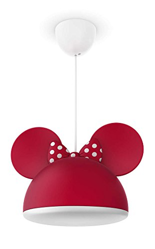 Philips Disney Minnie Mouse - Lámpara colgante de techo roja, iluminación interior, luz blanca cálida