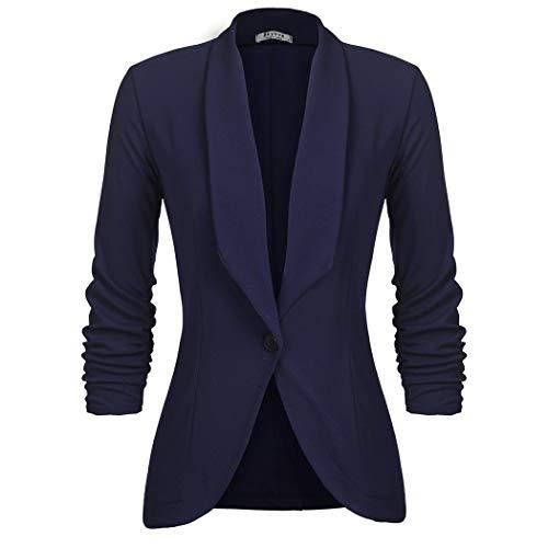 UNibelle Damen Blazer Dünne Frühling Kurzblazer Langarm Jacke Business Büro Party Freizeit Anzug Oberteile Navyblau XXL