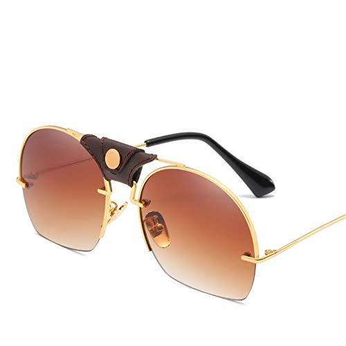Wenkang Fashion Sunglasses Designer Men Women Vintage Black Blue Eyewear Lens Sun Glasses Shades Semi-Rimless Sunglass,2