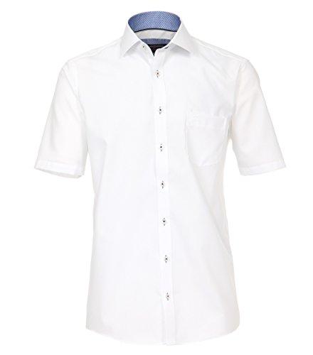 Casa Moda - Comfort Fit - Herren Popeline 1/2-Arm Hemd, Bügelfrei mit Kent Kragen in verschiedenen Farben (872716400) Weiß (000)
