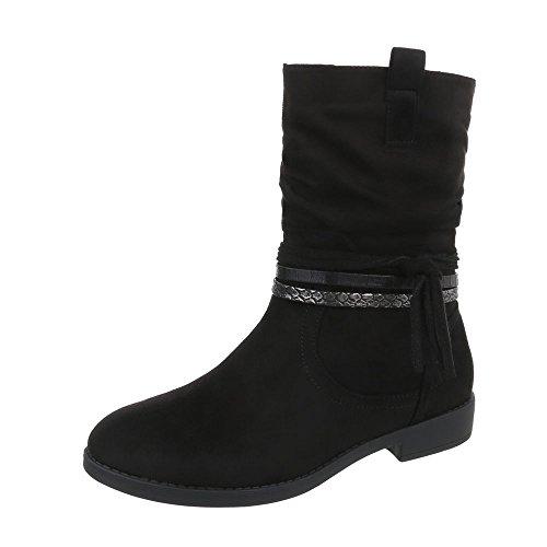 Ital-Design Klassische Stiefeletten Damen-Schuhe Klassische Stiefeletten Blockabsatz Blockabsatz Reißverschluss Stiefeletten Schwarz, Gr 40, Pe135P-