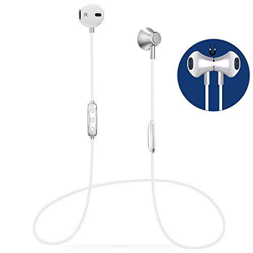 Cuffie Bluetooth Sport,Auricolari Bluetooth Magnetici Wireless di 6 a 8 ore con Micro,Progettazione Dell'equilibrio,per Fitness Running Correre Jogging/iPhone Samsung LG Xiaomi Huawei, argento/bianco