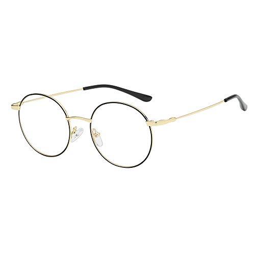 DOLLAYOU Brille im Vintage-Stil, rund, klare Gläser, Metallrahmen Gr. Einheitsgröße, C