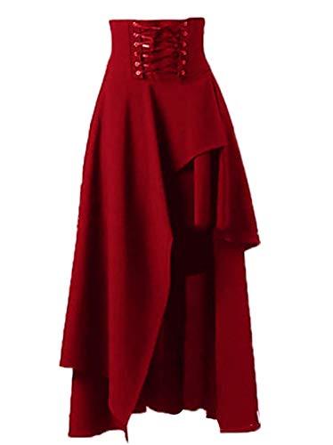 ef30aabdfaa2 WOZNLOYE Primavera Autunno Donne Maxi Gonne con Bende Retro Skirt a Vita  Alta Elegante Plissettate Gonna