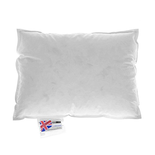 """Homescapes - Luxury New White Duck Feather Cushion Pad Inner Insert 12 x 16 """" (30 x 40 cm) - 100% Natural Cotton Anti Dust Mite And Down Proof Cover - Double Stitched Seams - Non Allergenic - Machine Washable"""