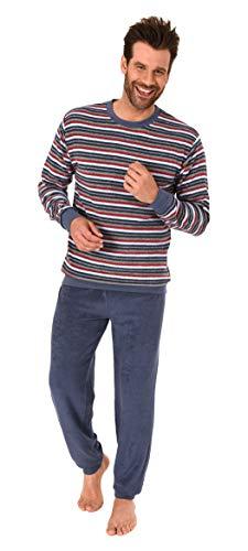 Herren Frottee Pyjama Schlafanzug Langarm mit Bündchen in Streifenoptik - 281 101 93 005, Größe2:54, Farbe:blau