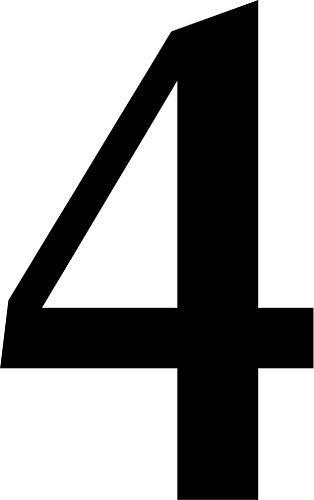 """Preisvergleich Produktbild iSecur® Aufkleber """"selbstklebende Hausnummer - 4 -"""",  10cm höhe,  schwarz,  Art. Nr. kfz_256_4,  im Außenbereich,  Ziffern,  Zahlen,  Nummern,  Wohnung,  Haus,  Loft,  Appartement,  Hausnummer,  Wandtattoo,  Rauhfaser geeignet,  Tür-,  Fenster-,  Schrank-,  & Spiegelaufkleber"""