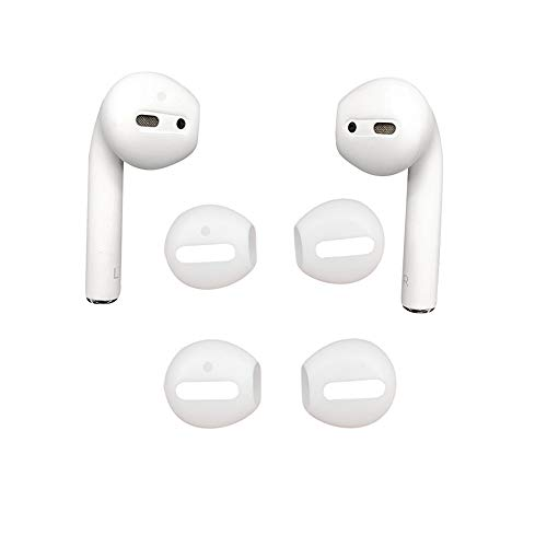 DamonLight 2 Paar Silikon-Ohrpolster Earbuds eartips für Apple airpods Kopfhörer (Weiß){Fit in The Case}(2.0 Version)