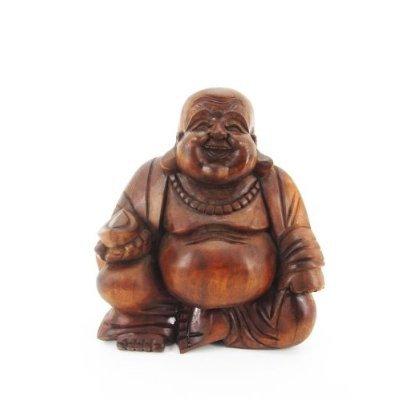 12cm Happy Buddha Sitzend Holz Geschnitzt Braun Bali Massiv Holz HB