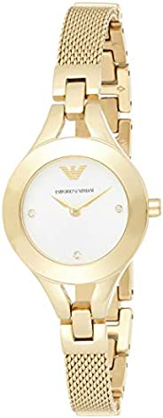 Emporio Armani Women's White Dial Stainless Steel Band Watch - AR