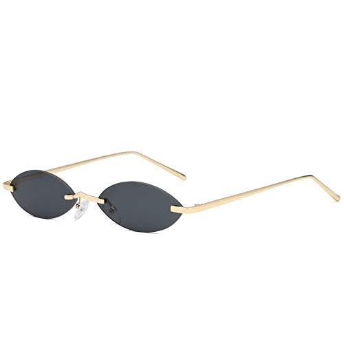 ZHOUYF Sonnenbrille Fahrerbrille Männer Ovale Cat Eye Sonnenbrille Frauen 90 S Sonnenbrille Vintage Kleine Randlose Sonnenbrille Dünne Cateye Brillen, B