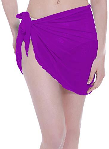 ChinFun Damen Mesh Strand Sarong Taille Wrap Bikini Cover Up Pareo Canga Badeanzug Kurze Minirock - violett - Einheitsgröße -