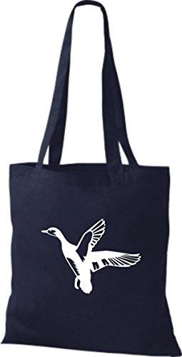 Shirtstown Stoffbeutel Tiere Wildgans, Duck, Ente, Goose Navy