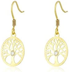 Córdoba Jewels | Pendientes en plata de Ley 925 bañada en oro. Swarovski de 2x2 mm. Cierre: Hippie. Diseño Árbol de la Vida Swarovski Cristal Oro