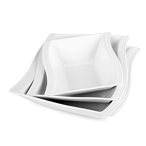 Malacasa, Serie Flora, 3 Teiligen Set Cremeweiß Porzellan 10&8,5&7 Zoll Schüssel Salatschüssel Müslischale Schale Schälchen Eckig