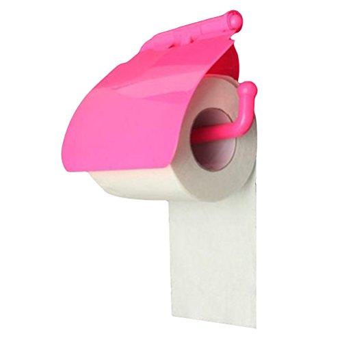 OUNONA Toilettenpapierhalter mit Abdeckung und Saugnapf Kunststoff (Rosig)