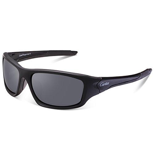 Carfia Premium Polarisierte Sport Sonnenbrille Outdoor Sportbrille Fahren Sonnenbrille für Damen und Herren Autofahren Ski Laufen Golf Angeln Radfahren, 100% UV400 Schutz (Grau)