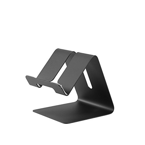Price comparison product image Xiton Cell Phone Desk Stand Holder - Aluminum Desktop Solid Portable Universal Desk Stand for All Mobile Smart Phone Tablet Display Huawei iPhone 7 6 Plus 5 Ipad 2 3 4 Ipad Mini Samsung (Black)