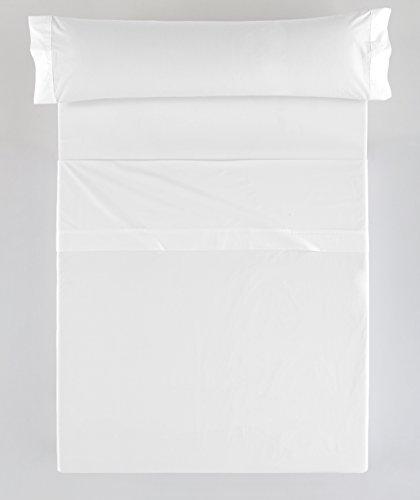 ES-TELA - Juego de sábanas LISO color Blanco (3 piezas) - Cama de 105 cm. - 100% Algodón - 144 Hilos