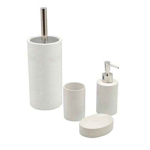 Harbour Housewares weiß Keramik Badezimmer-Set mit 4 Teilen. Inklusive Toilettenbürste, Seifenspender, Seifenschale und Zahnbürstenbecher