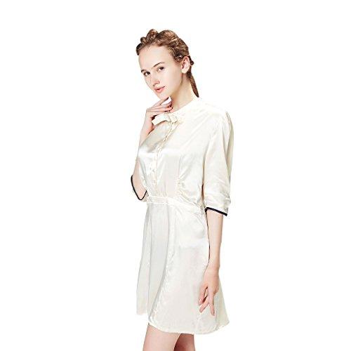 VANSILK Femme 19mm 100% Soie Robe de Chambre Sexy Peignoir Kimono Robe Vêtement de Nuit Ivoire