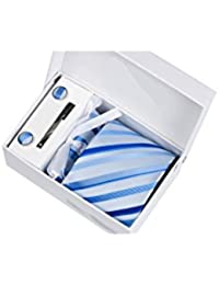 Coffret Cadeau Dallas - Cravate bleu ciel à rayures bleu électrique et bleu roi, boutons de manchette, pince à cravate, pochette de costume