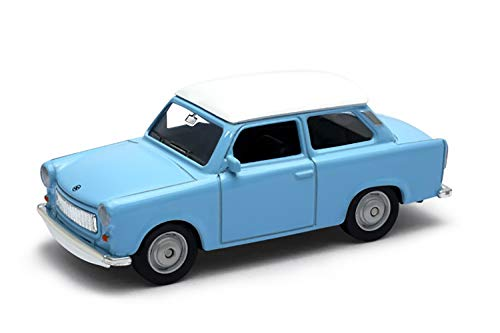 Welly-OOTB Original lizenziert Trabant 601 Modell-Auto DDR Trabbi Maßstab 1:34 Modell Auto, Sammlerstück (Blau-Weiß) - Modelle