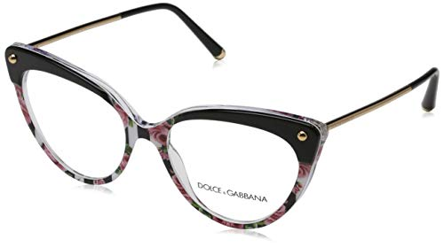 Ray-Ban Damen 0DG3291 Brillengestelle, Schwarz (Top Black On Print Rose/Stripe), 54