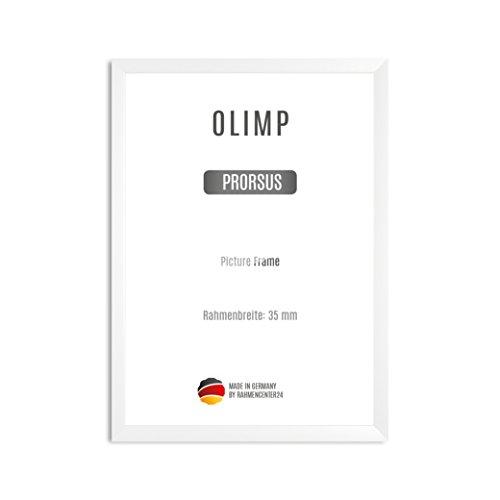 OLIMP PRORSUS 35 mm Bilderrahmen nach Maß für 17 x 11 cm Bilder, Farbe: Weiss matt, Handgefertigter MDF Rahmen mit bruchfester Anti-Reflex Kunstglasscheibe und stabiler MDF Rückwand, Rahmen Breite: 35 mm, Außenmaß: 22,8 cm x 16,8 cm (Quadratische Bilderrahmen 11x11)