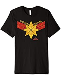 Captain Marvel Distressed Star Ribbon Logo Graphic T-Shirt
